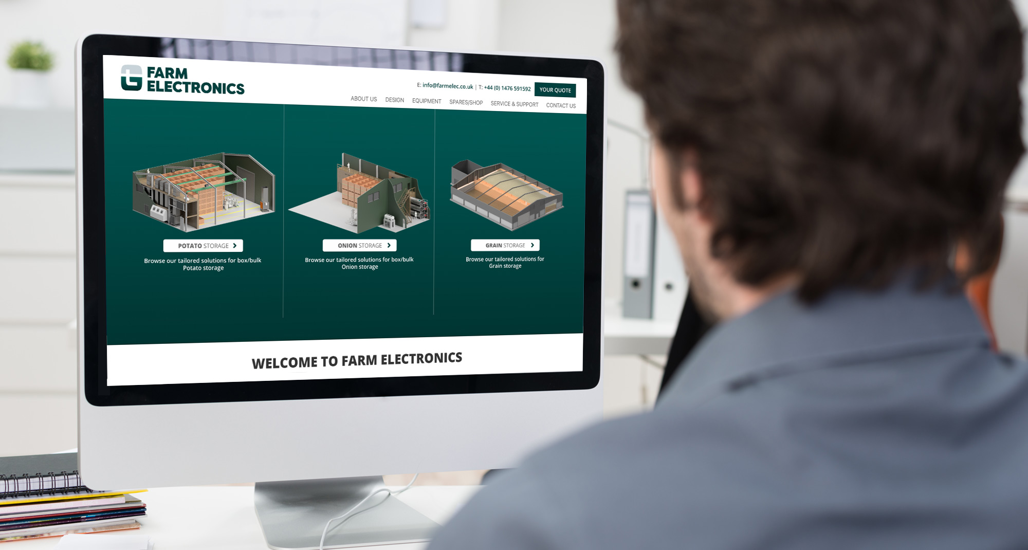 Farm Electronics website on a desktop