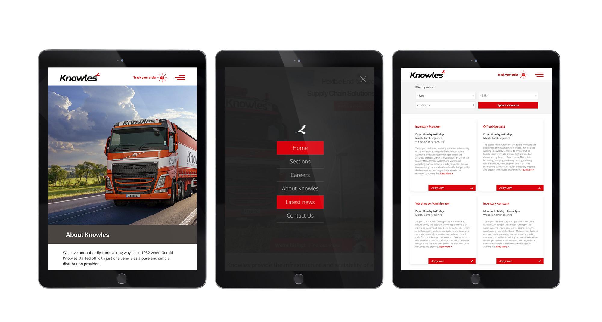 Knowles Transport website design - Tablet View