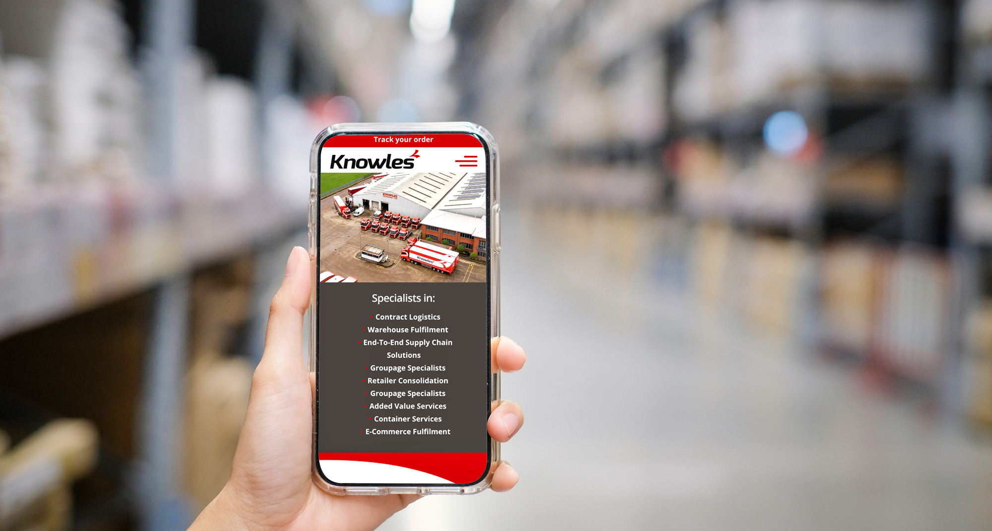 Knowles Transport website design - Mobile view