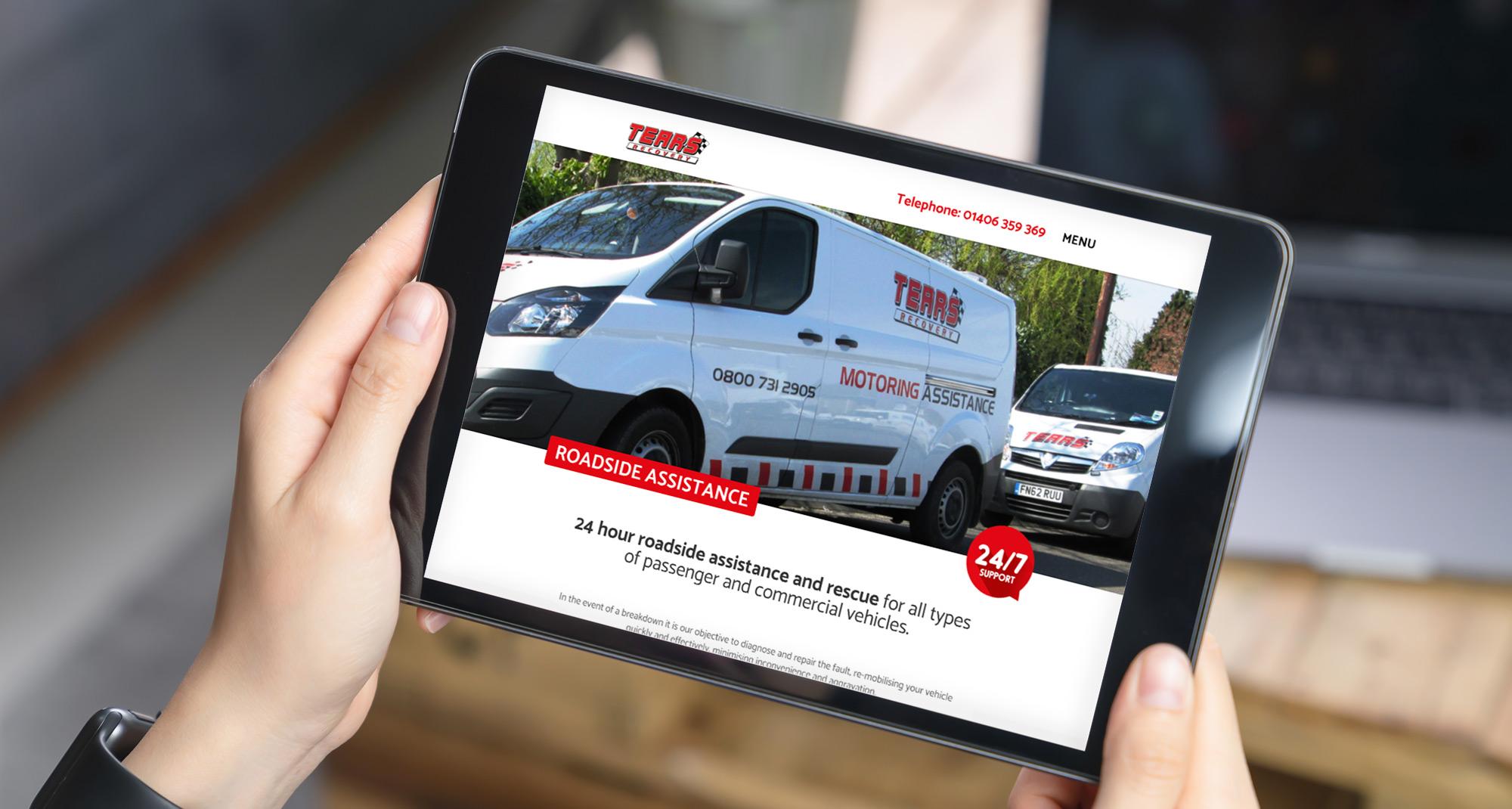 Farm Electronics website on a tablet