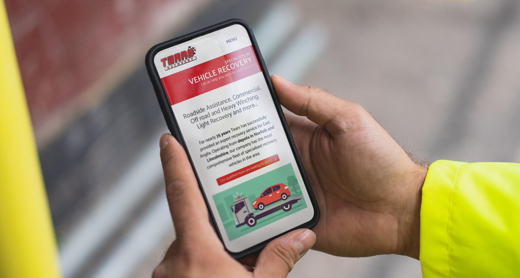 Farm Electronics website on a phone