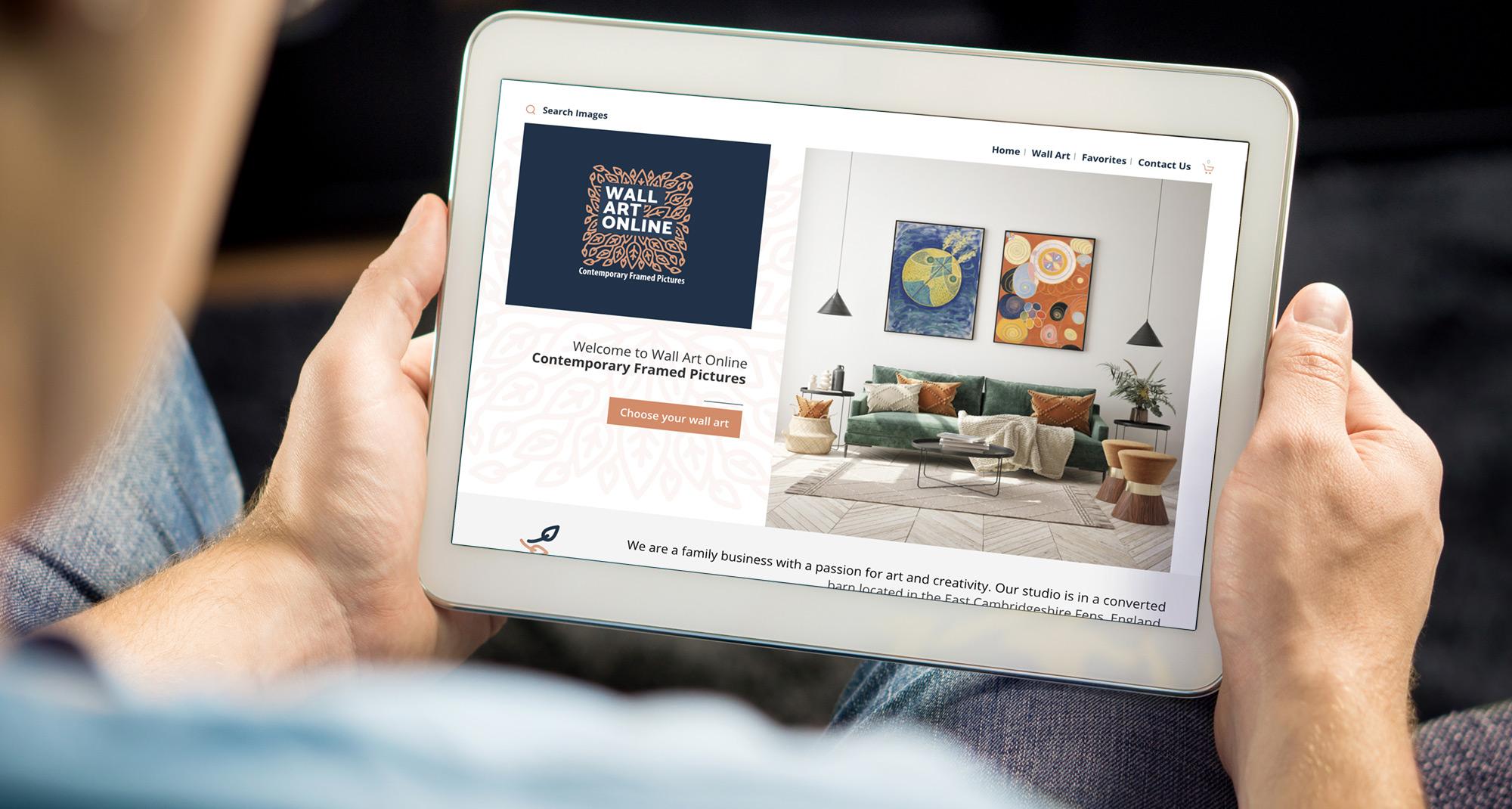 Wall Art Online website on a tablet