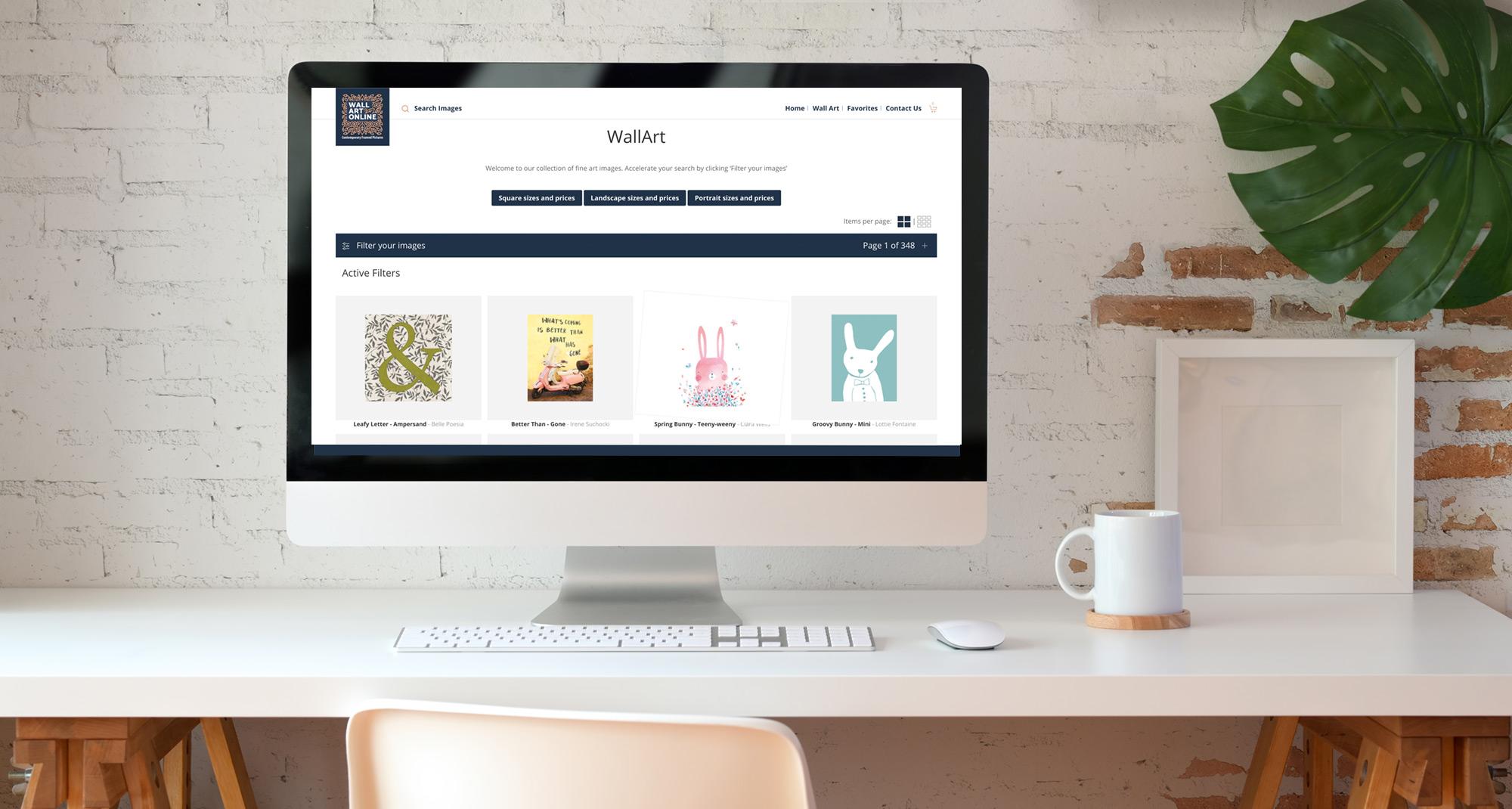 Wall Art Online website on a desktop device