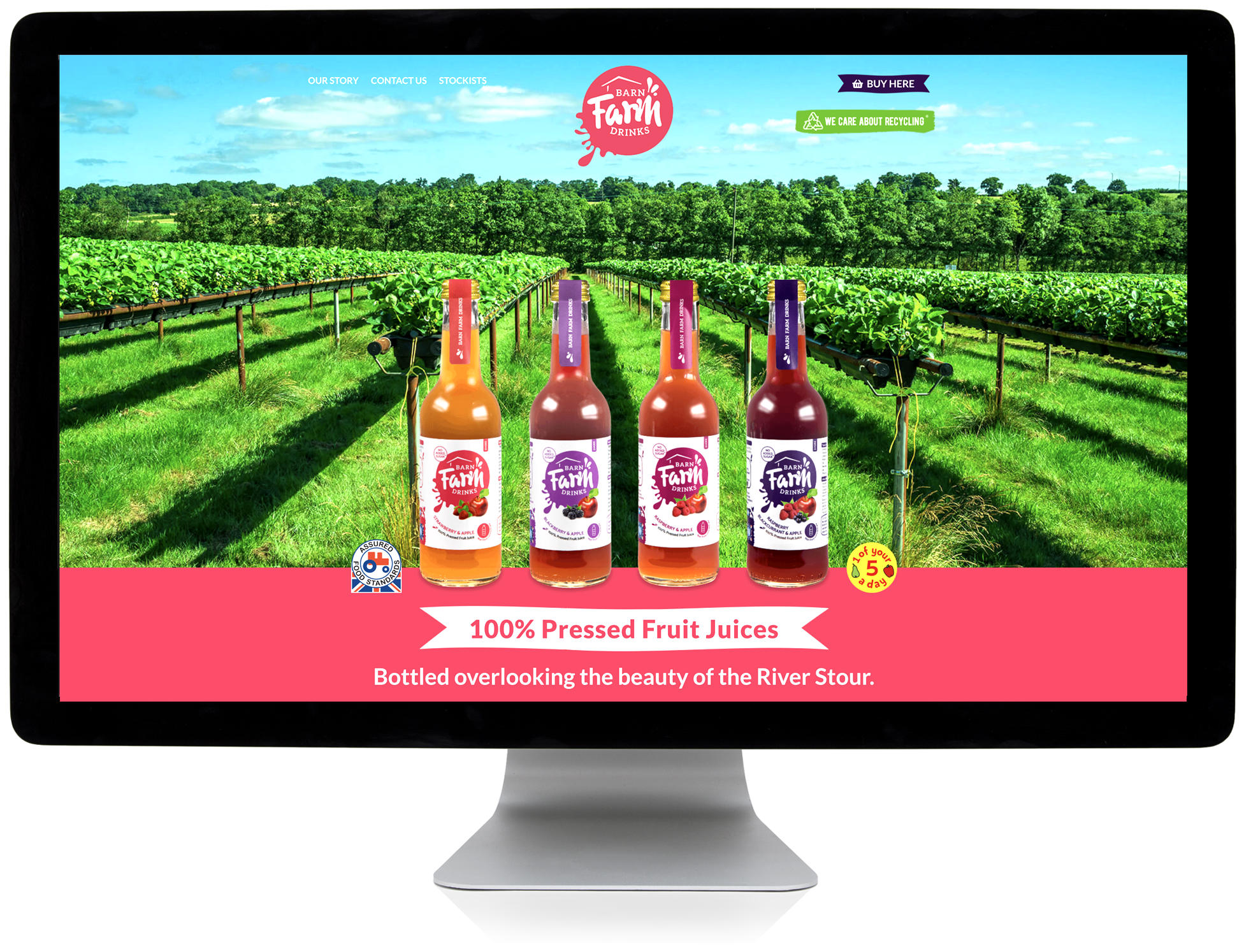 Barn Farm Drinks responsive website on desktop