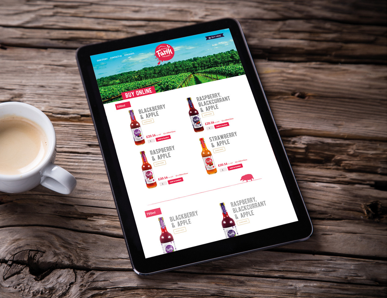 Barn Farm Drinks responsive website on iPad