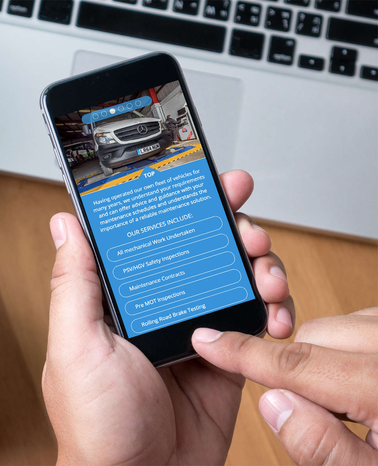 Bluefox responsive website displaying on mobile