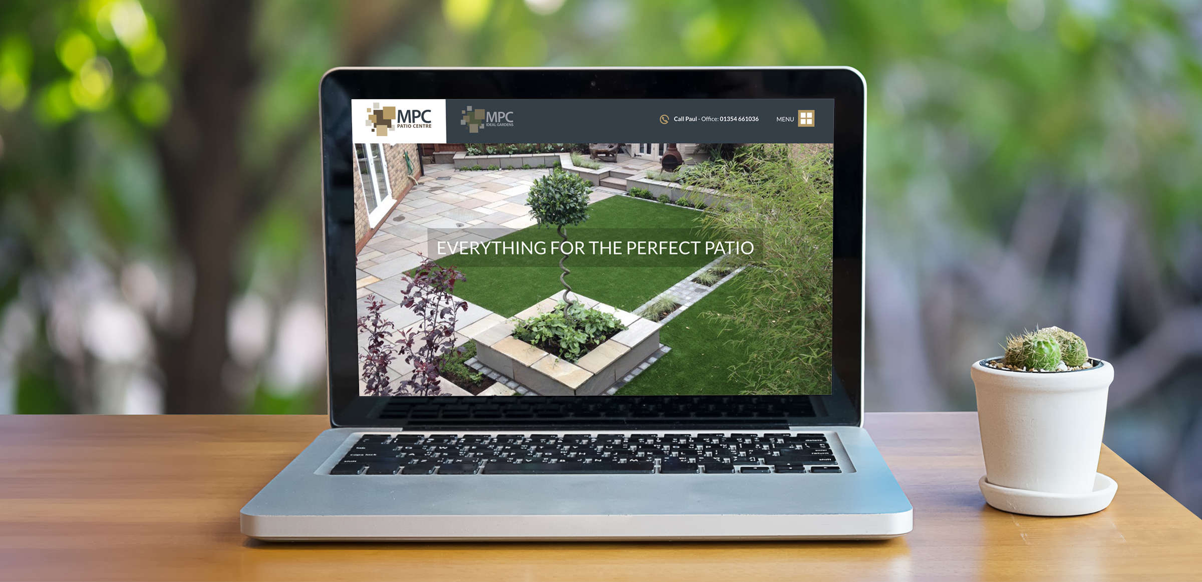 March Patio Centre responsive website displaying on laptop