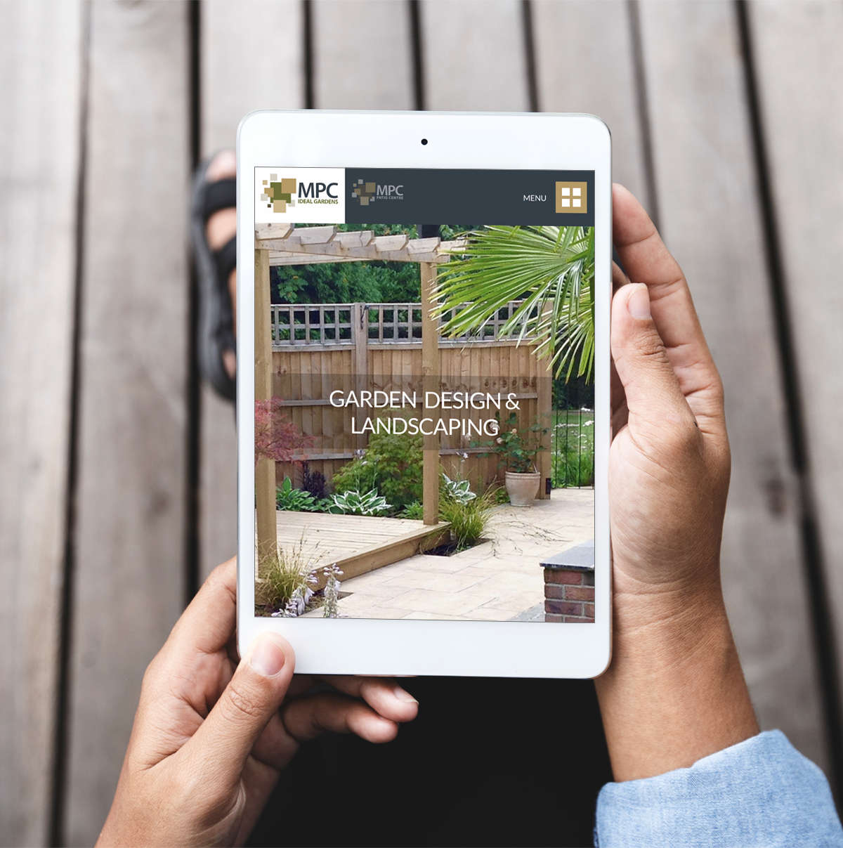 March Patio Centre responsive website on tablet