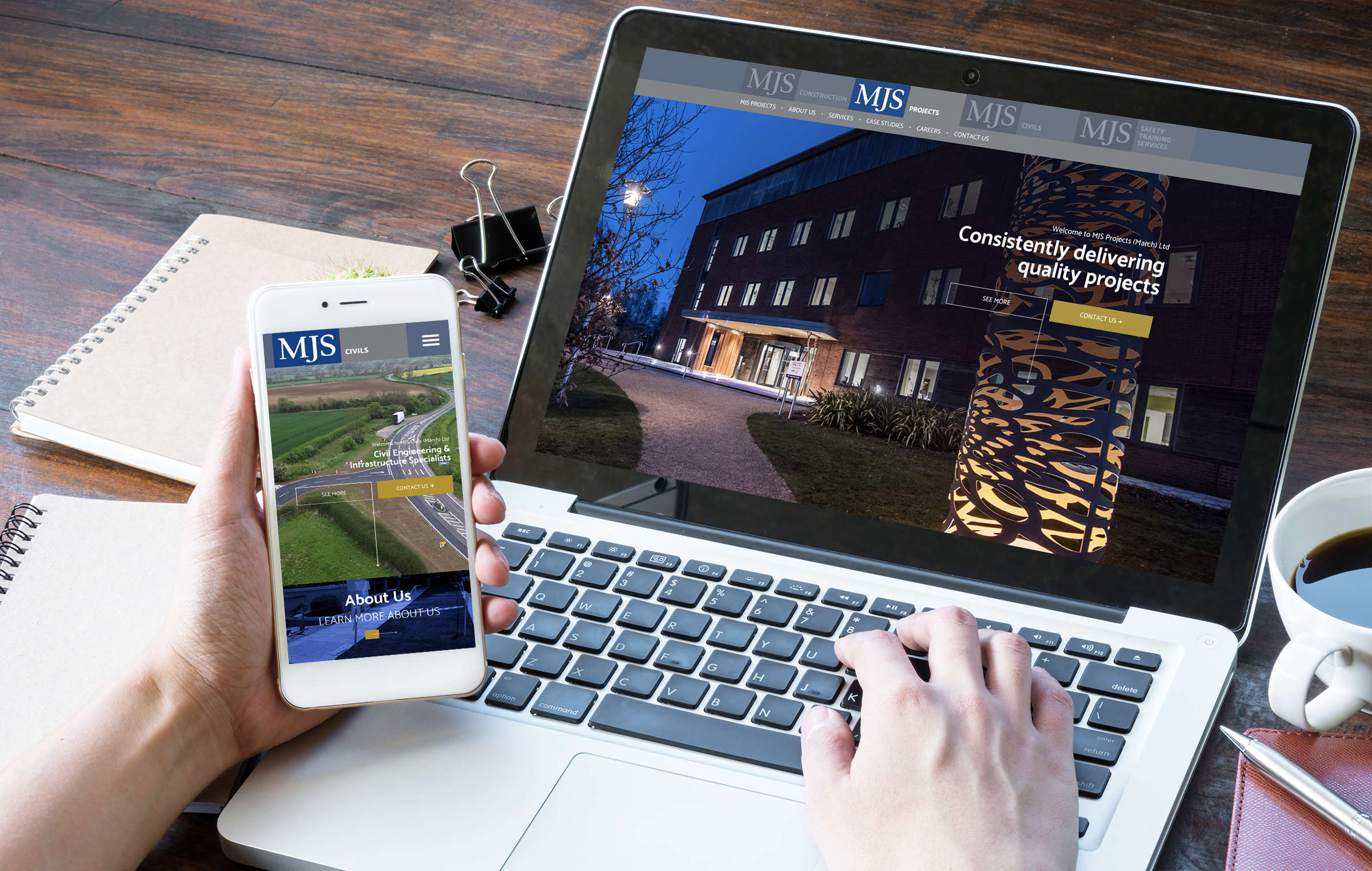 MJS responsive website displaying on laptop and mobile