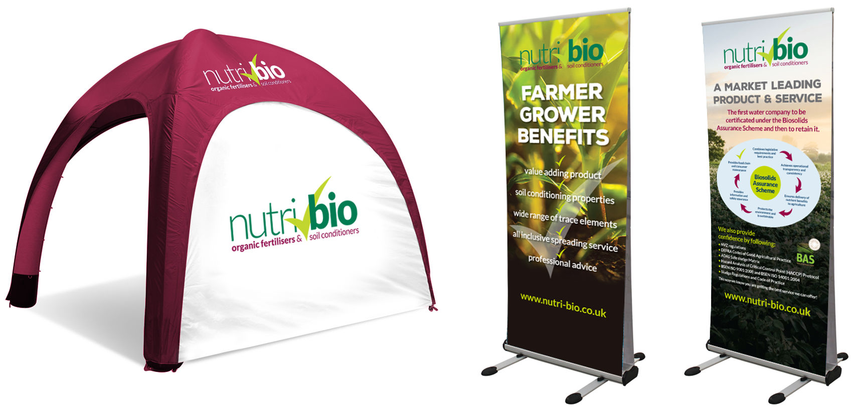 Nutri-Bio pop up exhibition graphics including a tent