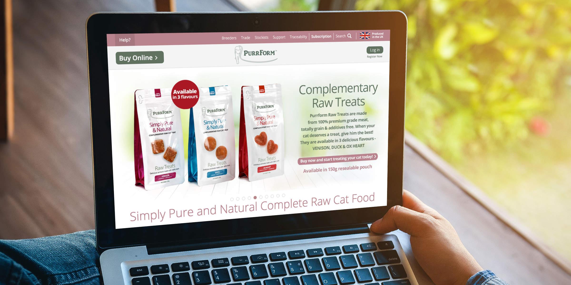 purrform raw cat food website design