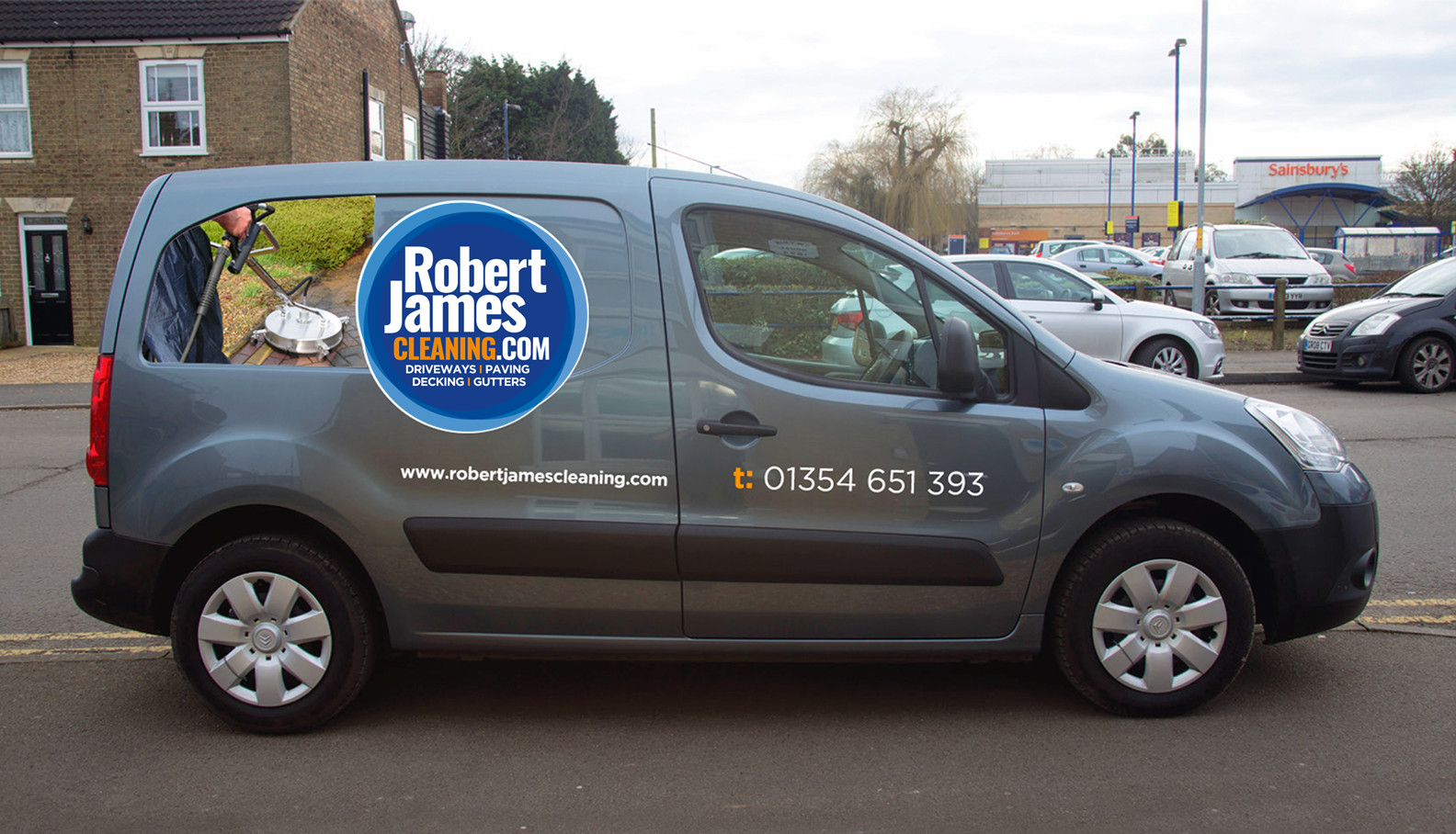 Robert James Cleaning van vehicle livery side