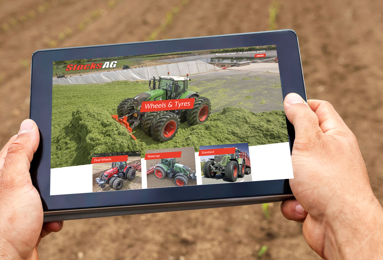 Stocks AG website on tablet