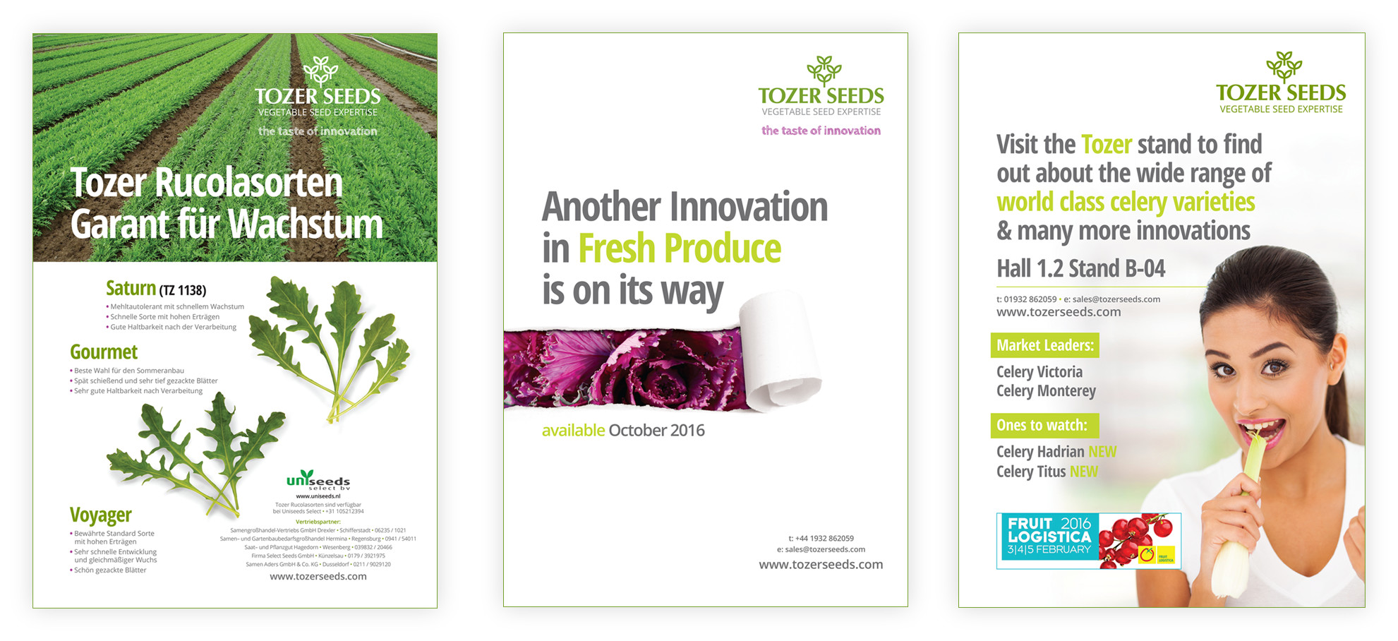 Tozer Seeds branding on printed literature
