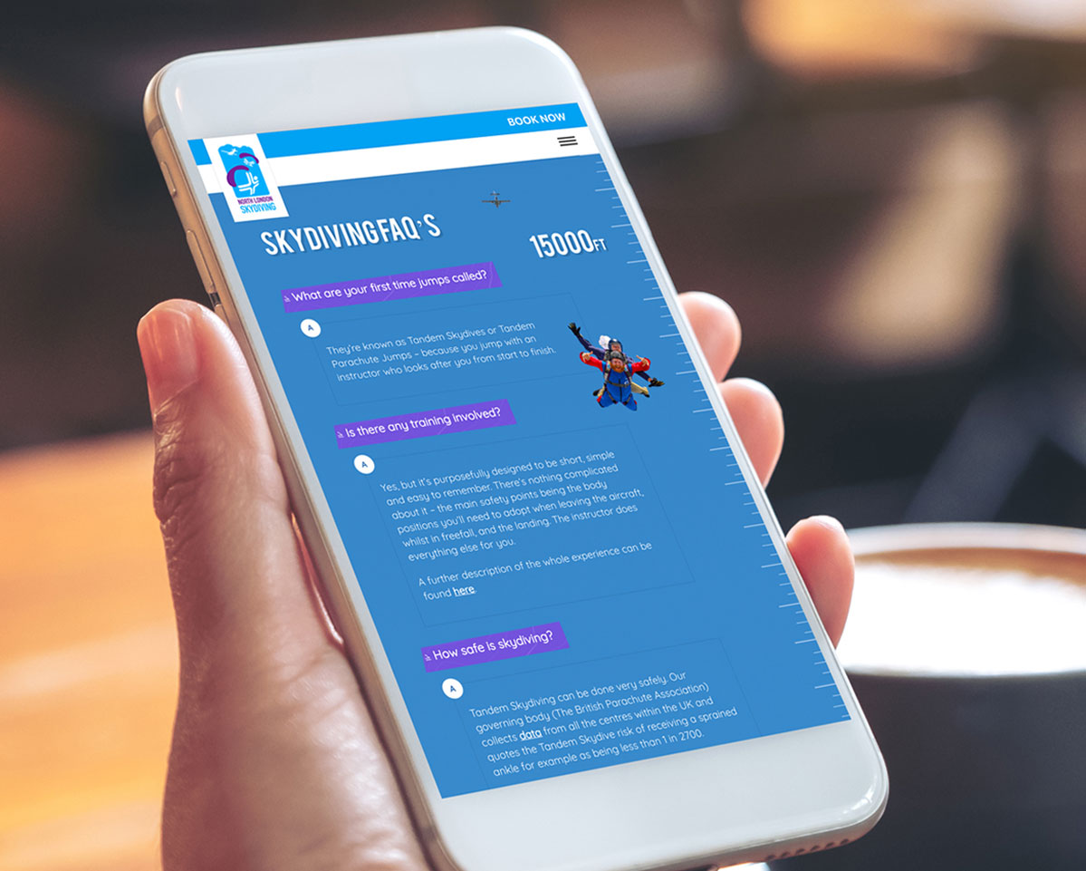 North London Skydiving responsive website on mobile