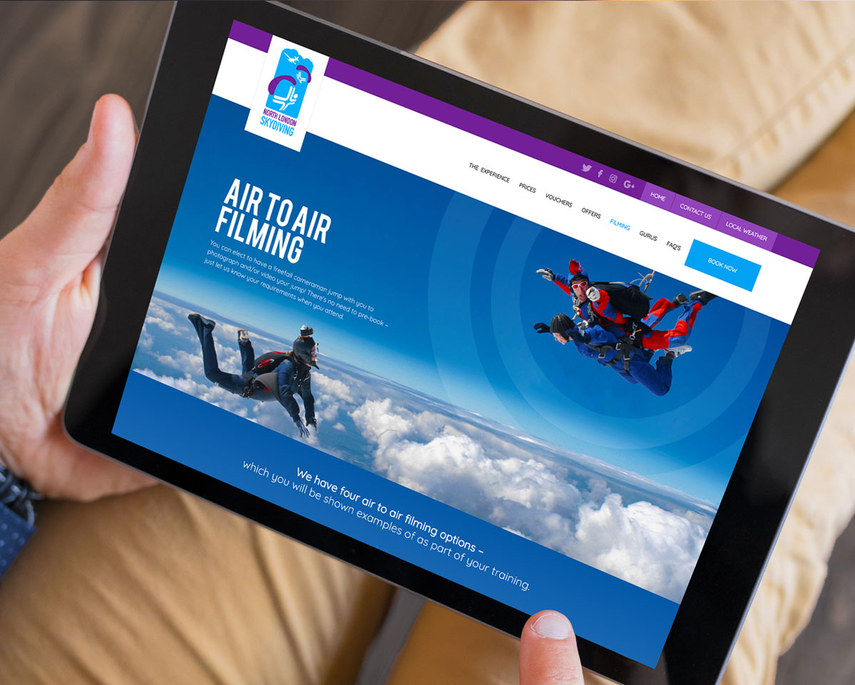 North London Skydiving website on tablet